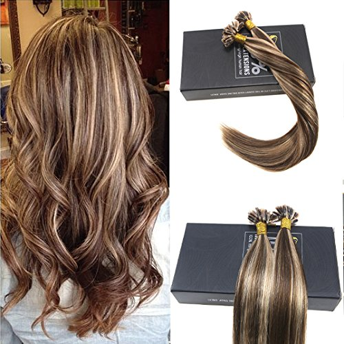 Sunny 7A Prebonded Fusion U Tip Hair Extensions Dark Brown with Caramel Blonde Nail Tip Extensions 16