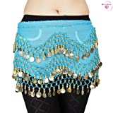 BellyRose Chiffon Dangling Gold Coins Belly Dance Hip Scarf, Vogue Style from HSF