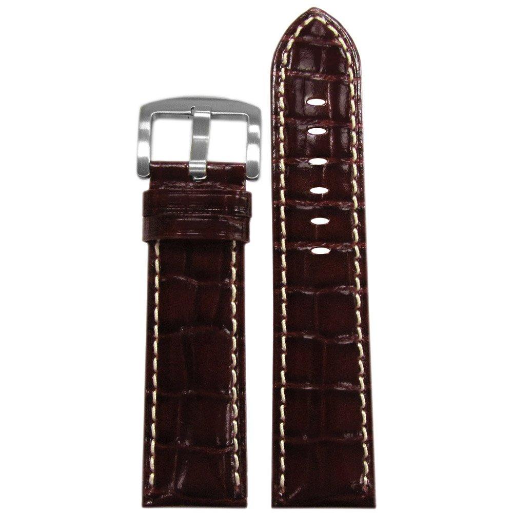 純正Embossed Leather Gator時計バンドセミグロス仕上げby Panatime 120 x 80 24mm Burgundy/White Stitch 24mm|Burgundy/White Stitch Burgundy/White Stitch 24mm B00T6RK4CW