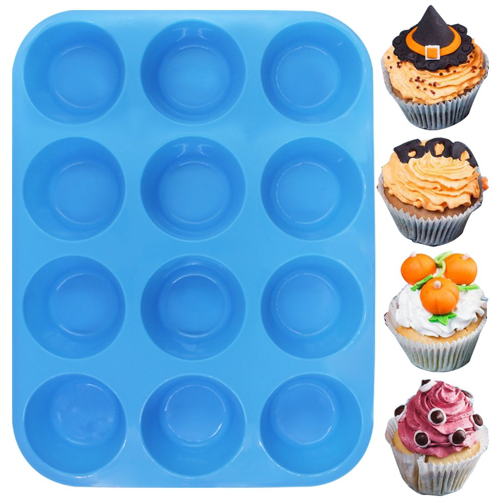 12-Cup Silicone Muffin & Cupcake Baking Pan, YuCool 3 Pack Silicone Molds for Muffin Tins, Cakes, Non-stick Mould (Orange, Red, Blue) by YuCool (Image #8)