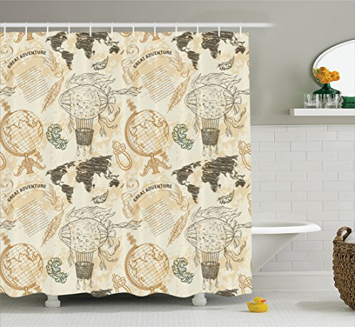 Ambesonne Wanderlust Decor Shower Curtain by, Pattern With Vintage Globe World Map Airship Rope Knots Ribbon Retro Illustration, Fabric Bathroom Set with Hooks, 69W X 70L Inches, Beige Olive Green