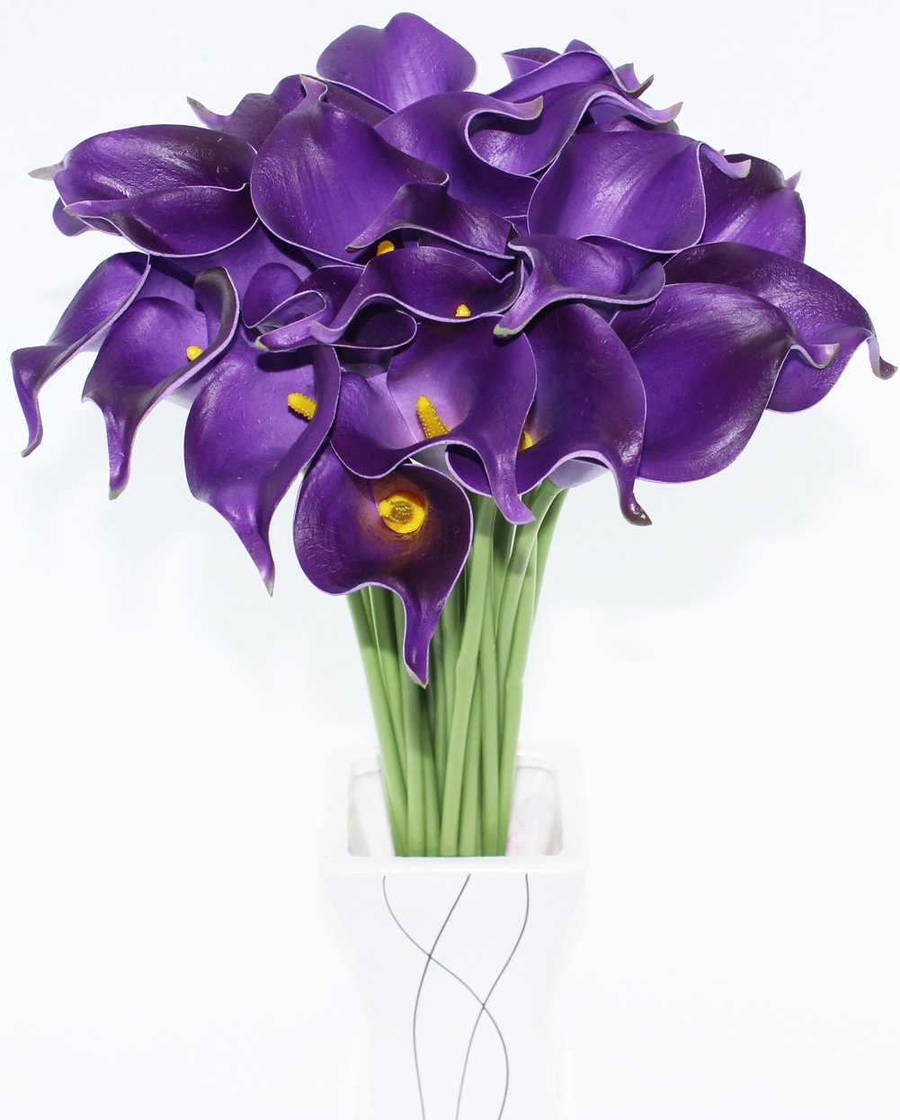 Amazon simpleyourstyle calla lily artificial flower 30pcs no amazon simpleyourstyle calla lily artificial flower 30pcs no vase bridal wedding bouquet 30 head latex real touch flower bouquets purple home izmirmasajfo