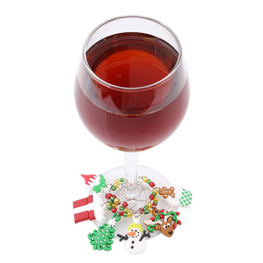 Edtoy Christmas Party Wine Charms Glass Markers Decoration set of 6
