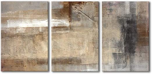 """16/""""x24/""""x3 Panels Brown and Beige Abstract Art Painting Canvas Wall Art Wall26"""