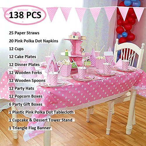 138 Pcs Pink Polka Dot Party Supplies Pack Kit Include Paper Cups Plates Napkins Hats Popcorn Box Dessert Tower Tableware Table Cover Gift Boxes Triangle Flag Banner for 12 Guests (Hats Construction Christmas Paper)