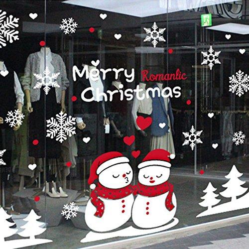 FBHDLKHAFLIHI Wall Stickers,Wallpaper DIY Kiss The Snowman Christmas Shopping mall Stores Glass Shop Windows-A 79x118inch(200x300cm) (Glass 118 Inch)