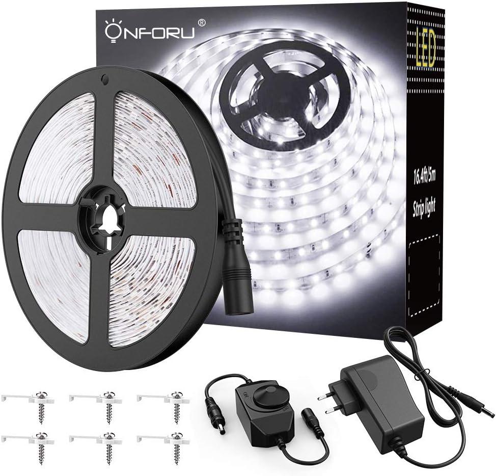 Onforu 5M Tira LED Regulable, Blanco Frío 6000K LED Strip Light, 12V Luces de Tiras Adhesivas Regulador de Intensidad, LEDs 2835 con Adaptador para Habitación Cocina Salón Decoración Interior