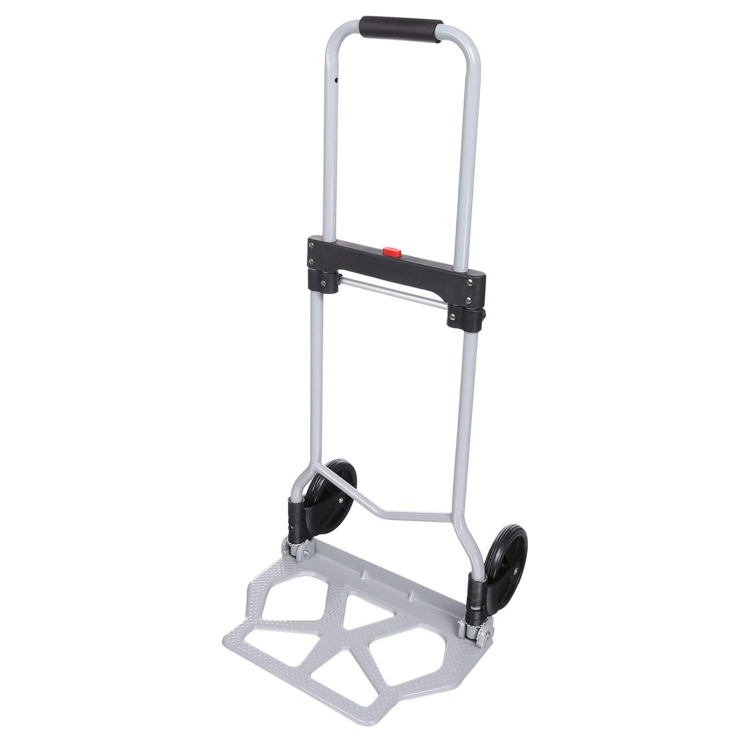 Iekofo Portable Folding Hand Truck Dolly Luggage Carts, 220LBS Heavy Duty Silver Aluminum Collapsible Cart (US Stock)