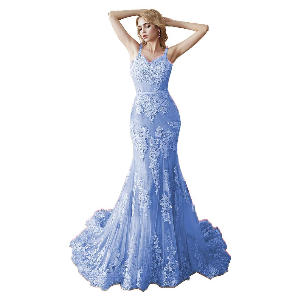 bluee MariRobe Women's Lace Applique Bridesmaid Dress Mermaid Quinceanera Dress Strap Long Evening Dress Engagement Gown