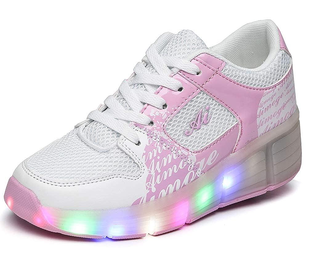 Chaussure avec Roue Baskets Enfants LED Chaussures Lumineuse À roulettes Garçons Filles Sneakers avec Roues