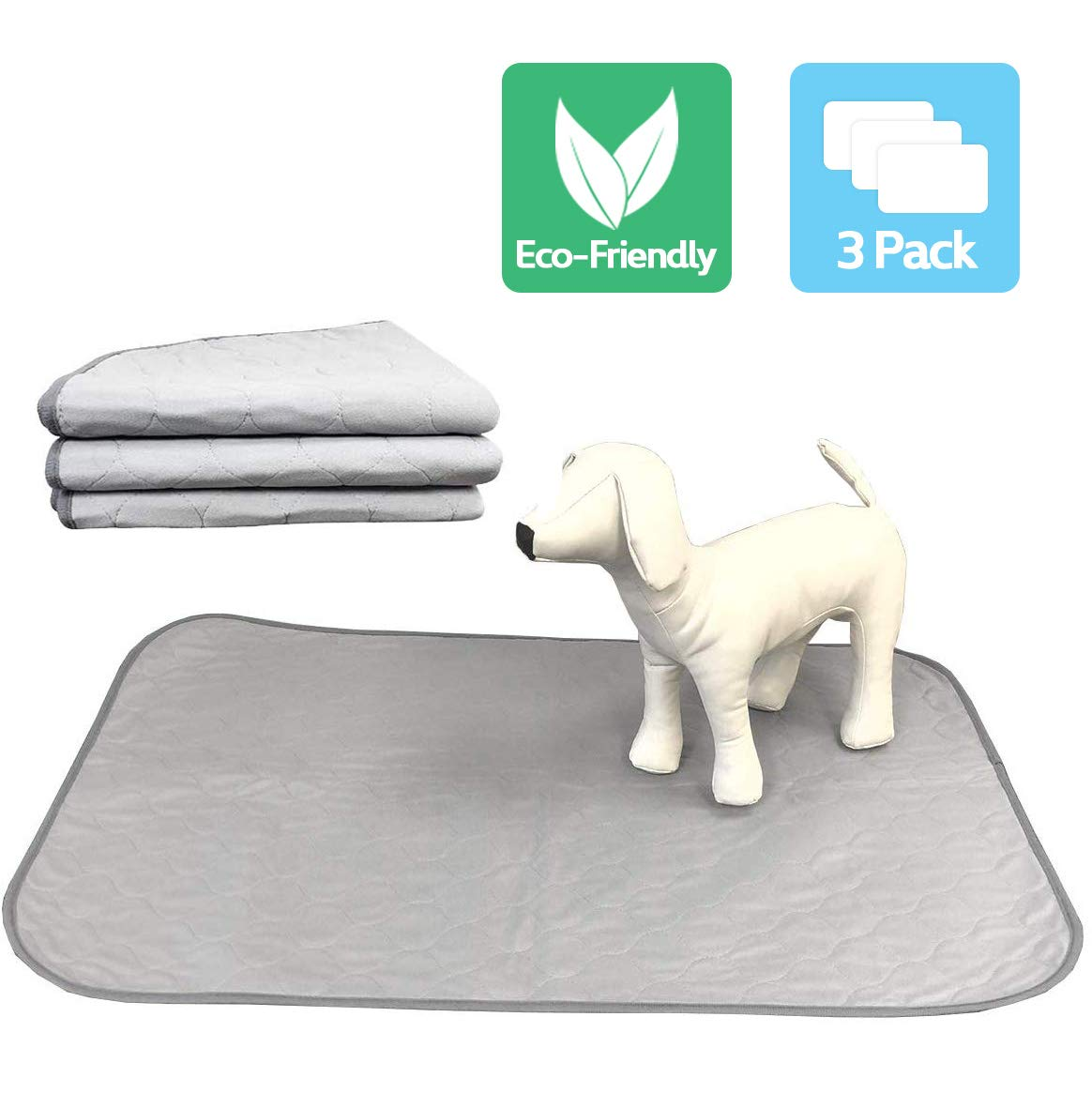 Highly Absorbent Reusable Washable Pet Training Pads with Waterproof Bottom (Pack of 3) Grey Fit Standard Cage by Pet Magasin