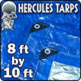 Tools & Hardware : 8' x 10' - Hercules Tent Shelter Tarp Cover Waterproof Tarpaulin Plastic Tarp Protection Sheet for Contractors, Campers, Painters, Farmers, Boats, Motorcycles, Hay Bales - Blue/Silver