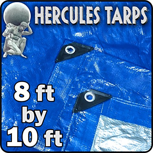 EasyGoProducts Protection Shelter Tarp Cover Waterproof Tarpaulin Plastic Tarp Drop Sheet for Contractors, Campers, Painters, Tents, Boats, Motorcycles, Hay Bales - Hercules Tarp (-8x10)