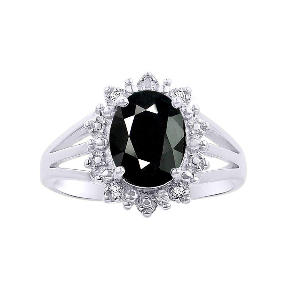 Princess Diana Inspired Halo Diamond & Onyx Ring Set In 14K White Gold