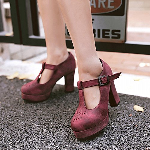Mee Shoes Damen Chunky Heels Plateau Schnalle Pumps Pink almond