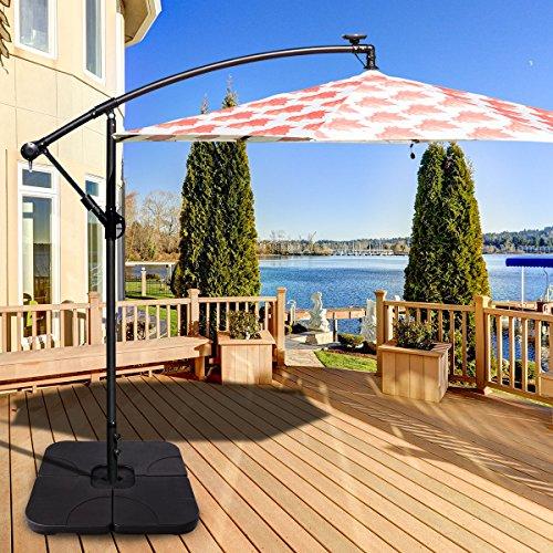 Giantex 20'' Patio Offset Umbrella Base Stand Sand/Water Filled Base 4-Pieces Plates Outdoor Garden Beach Backyard Umbrella Bases (Square Base) by Giantex (Image #3)