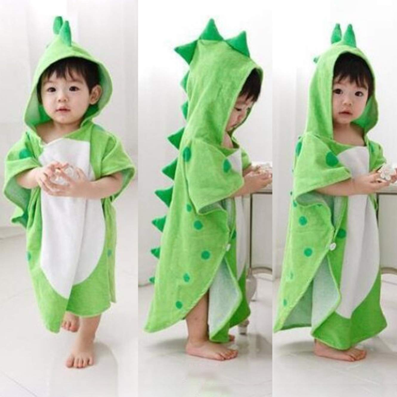 guantongda Durable Children Bath Towel Robe Cartoon Hooded Bathrobe Green