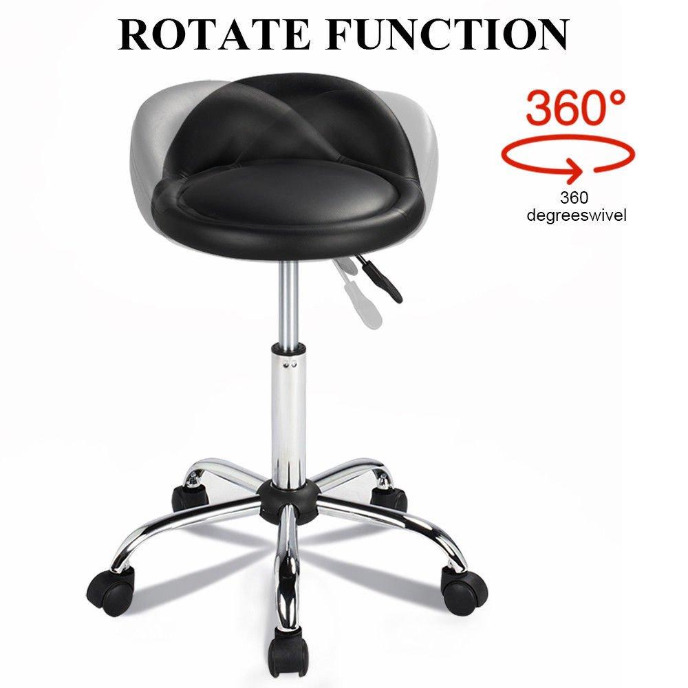 New Rolling Hydraulic Bar Stool Salon Barber Chair Spa Stool Pedicure / Manicure Nail Technician Massage Equipment | Black by Eosphorus (Image #6)