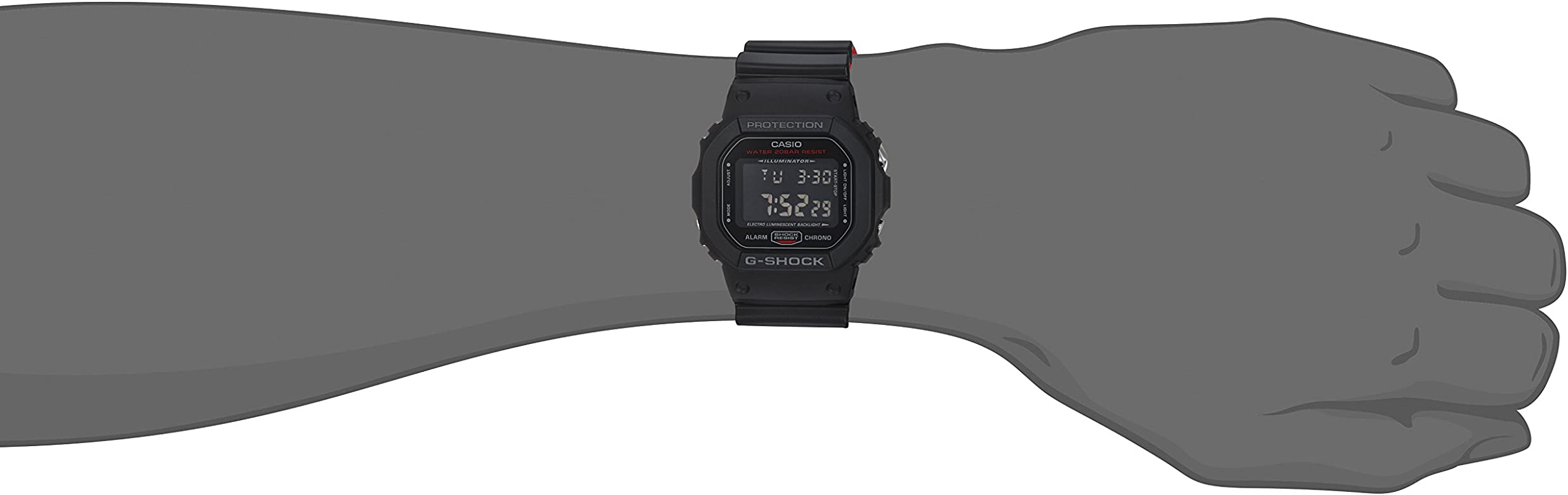 Mens G Shock Quartz Watch with Resin Strap, Black, 25 (Model: DW-5600HR-1CR)
