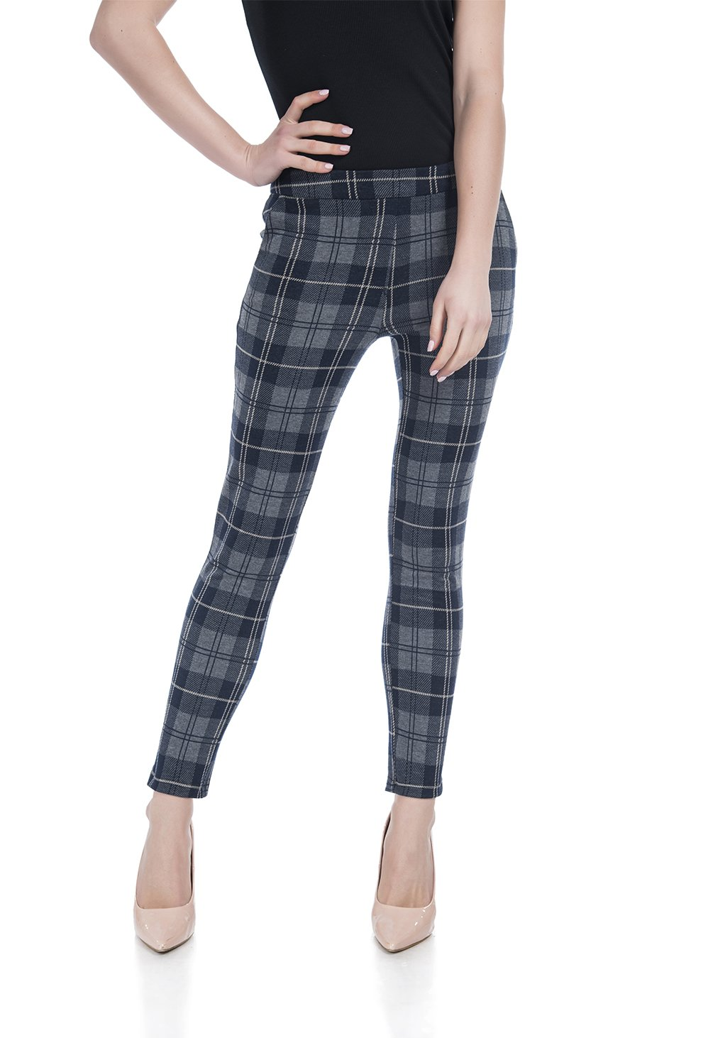 Soshow Plaid Pants for Women,Ultra Soft Leggings,Womens High Waist Slim Fit Pants