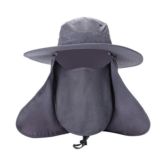 Hemore Gorra de Pesca al Aire Libre 360 ° Protección Solar Sombrero  Protección UV Desmontable ala 34903e7efe7