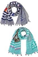 Navy Blue & Aqua Polka Dot Paisley Fashion Scarf 2-Pack Set