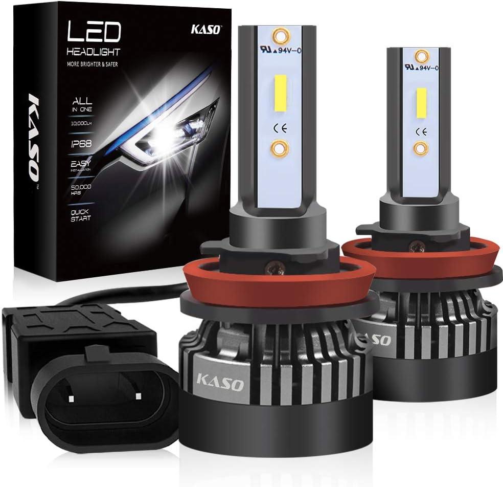 KASO All in One Design Headlight Kit 10000LM 72W//Set 6000K Cool White High Low Beam Fog Lights Highly IP68 Waterproof H4 9003 H4 LED Headlight Bulbs 9003-3 Years Warranty