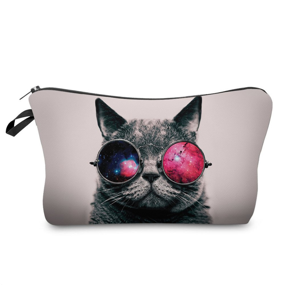 Makeup Toiletry Cosmetic Travel Carry Bag Zippered Luggage Pouch Multifunction Make-up Bag Pencil Holder Organizer for Men and Women (Cool Cat with Glasses)