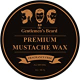 The Gentlemen's Premium Mustache Wax – Completely Fragrance Free – For A Strong All-Day Hold Without Stiffness Or Greasiness – Dries Invisible – 2oz