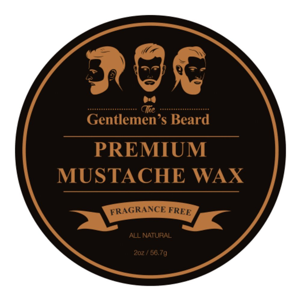 The Gentlemen's Premium Mustache Wax - Double The Normal Size - 2 OZ - Fragrance Free - For A Strong All-Day Hold Without Stiffness Or Greasiness - Dries Invisible - The Gentlemen' s