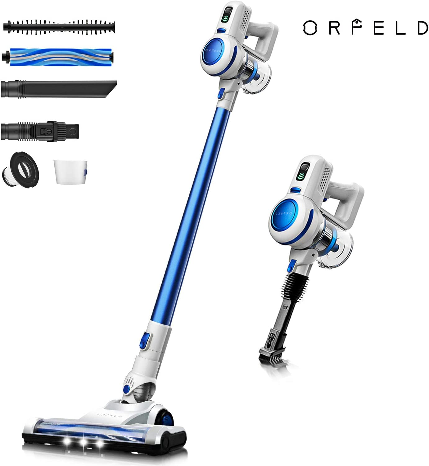 ORFELD Cordless Vacuum, Stick Vacuum Cleaner, 17Kpa Brushless Motor, Lightweight Handheld Vacuum Cleaner 4-in-1 Ultra-Quiet with LED Brush for Deep Clean Pet Hair Carpet Hard Floor