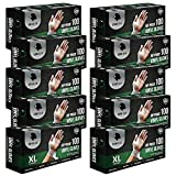 Gorilla Supply 1000 Synthetic Vinyl Gloves Extra Large XL Case Powder Free, (100 of 10) Latex Free Extra Strong Food