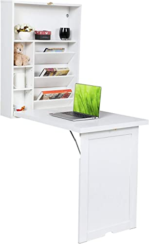 Modern Compact Wood Wall Mounted Folding Desk Cabinet Convertible Writing Desk