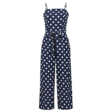 2ca79effdb6f Women s Elegant Spaghetti Strap Backless Polka Dot Jumpsuit Fashion High  Waist Wide Leg Long Pants Playsuit