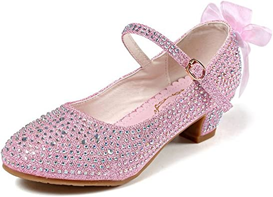 CYBLING Princess Girls Low Heels Mary Jane Glitter Dress Shoes Kid Party Pumps