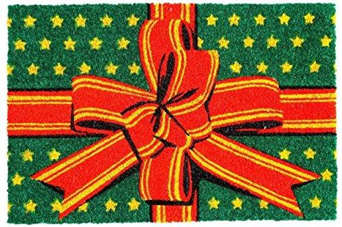 Cranberry Mats Designer Natural Coir Non Slip Doormat for Patio, Front Door, All Weather Exterior Doors – 16X24 –Gift Design (Coir Christmas Mat Door)