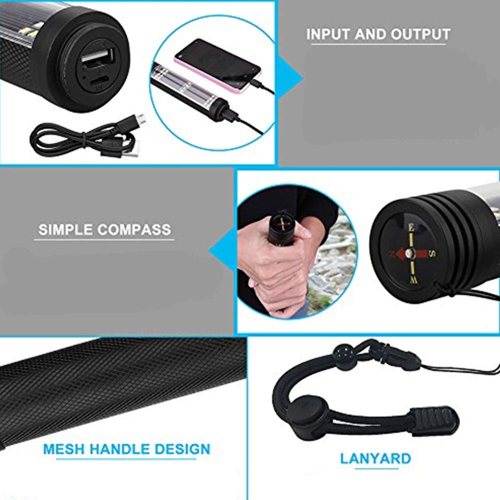 Portable Flashlight for Hiking XREXS Solar Powered LED Car Flashlight Multi-Function Solar Escape Rescue Flashlight with 2000mAh Battery Traveling USB Charger and Solar Charger Camping