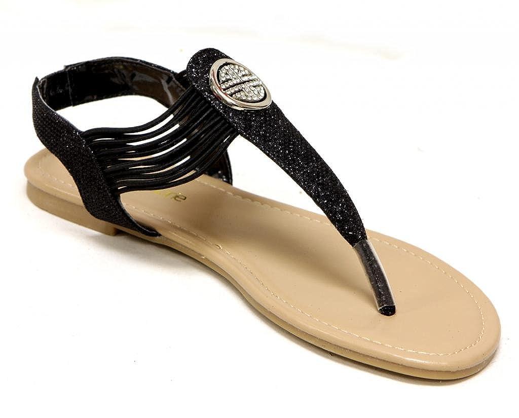 Talia-3 Women's flip-flop Thong T-strap round Rhinestone Metal Button Glitter Sandals