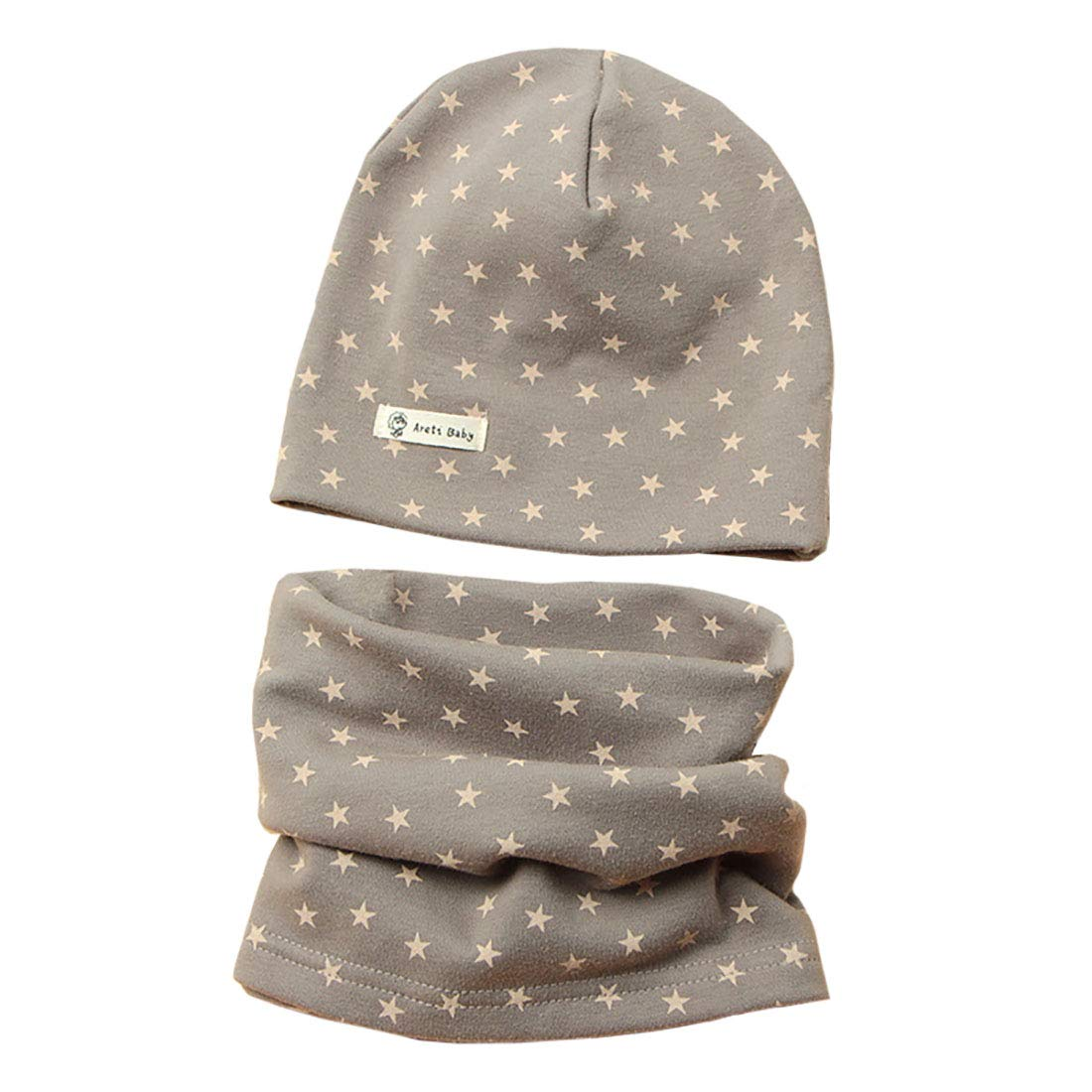 Baby Kid Cotton Beanie hat + Loop Scarf Set Autumn Winter Print Hedging Cap Collars Scarf Baby Hat Scarf Set