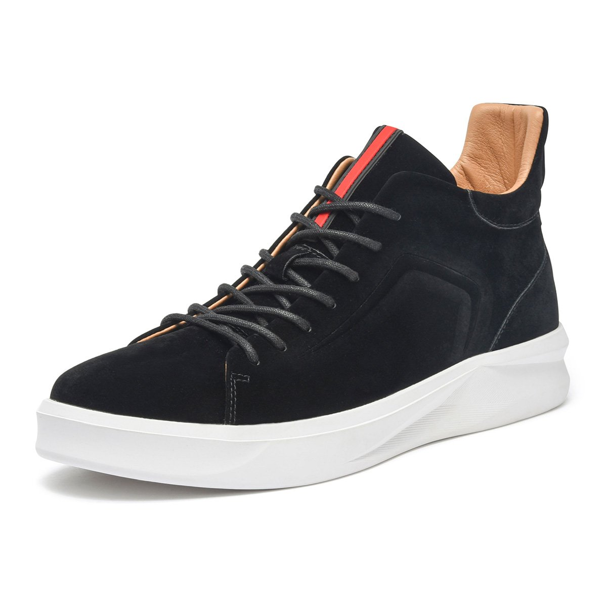 ARTISURE Men's Classic Black Suede Leather Upper High-Top Casual Sneakers Fashion Ankle Boots 8.5 M US SKS-1989HEI085