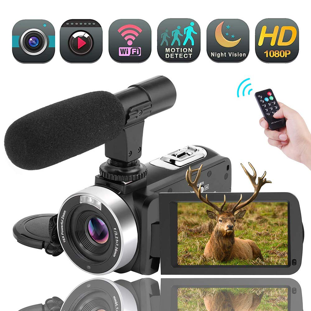 Video Camera Camcorder, Vlogging Camera Full HD 1080P 30FPS 16X Digital Zoom Wifi Camcorder with Microphone 3.00 Rotatable Touch Screen Support Remote Control Time-Lapse Function