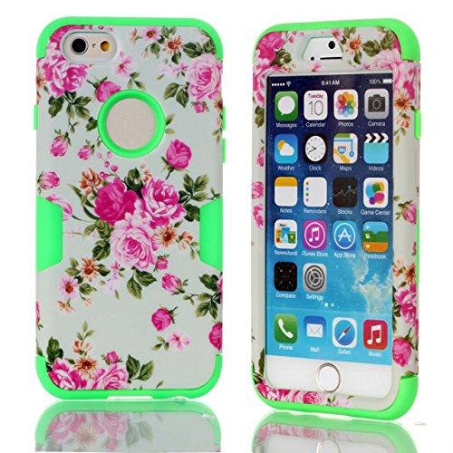 iPhone 6s hülle, iPhone 6 hülle, Lantier Hybrid Heavy Duty Rugged Hard Case mit harter PC + Innen Silikon Shell Shockproof Abdeckung für Apple iPhone 6 / 6S 4,7 Zoll (Rose / Grün)
