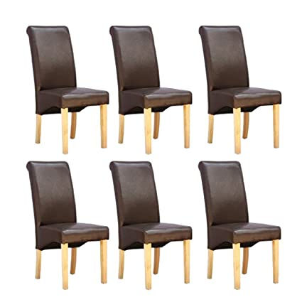 half off 22fec c5501 6 xCAMBRIDGE BROWN FAUX LEATHER DINING CHAIR w ROLL TOP HIGH BACK SOLID  WOOD OAK LEGS