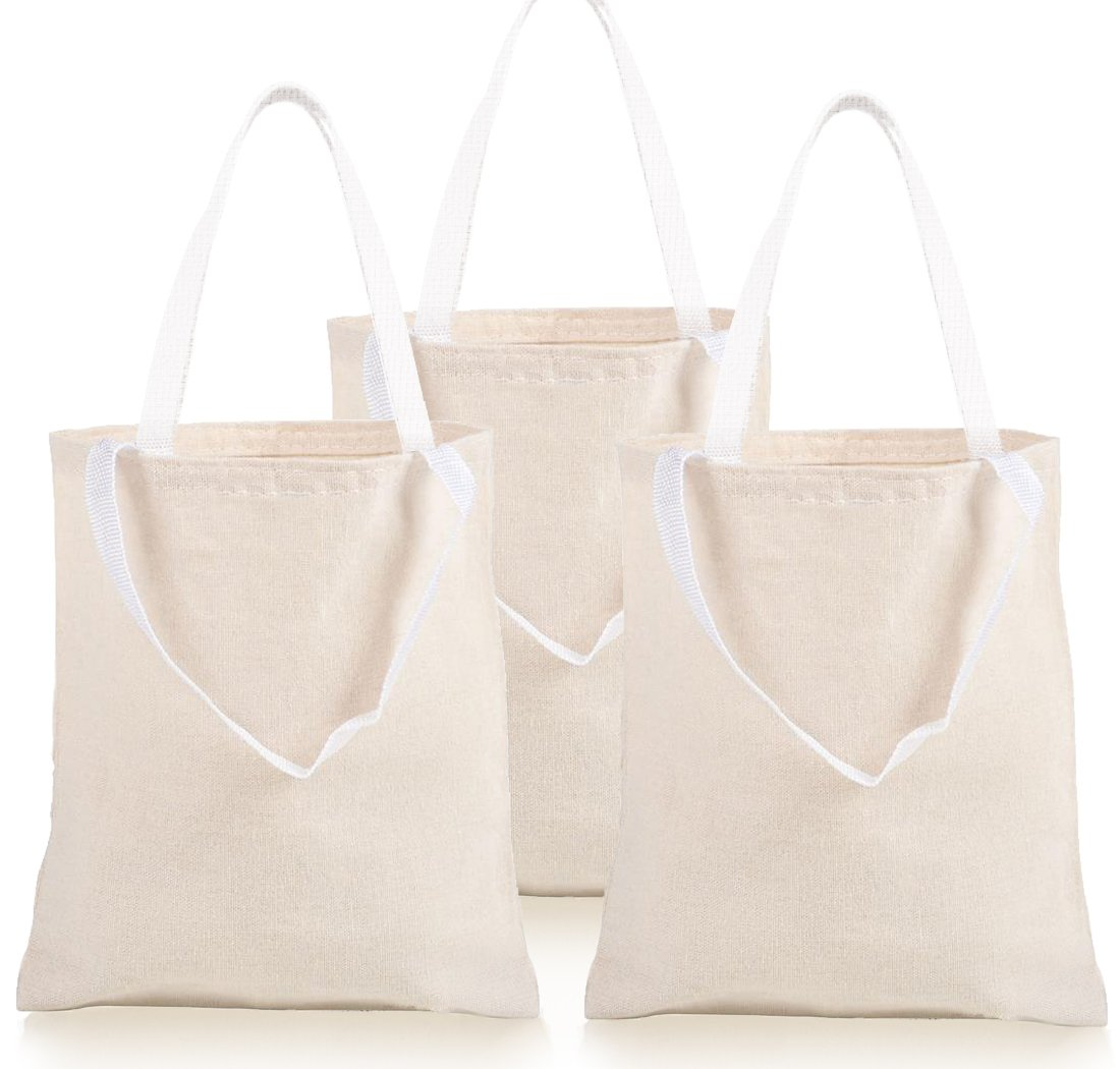 "GIFTEXPRESS Pack of 12, 12.75""H x 10.65"" W Natural Color Canvas Tote Bag/Canvas Craft Bags/Canvas Grocery bags"