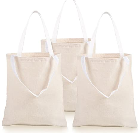 Amazon.com: Paquete de 12 bolsas de lona de color natural ...