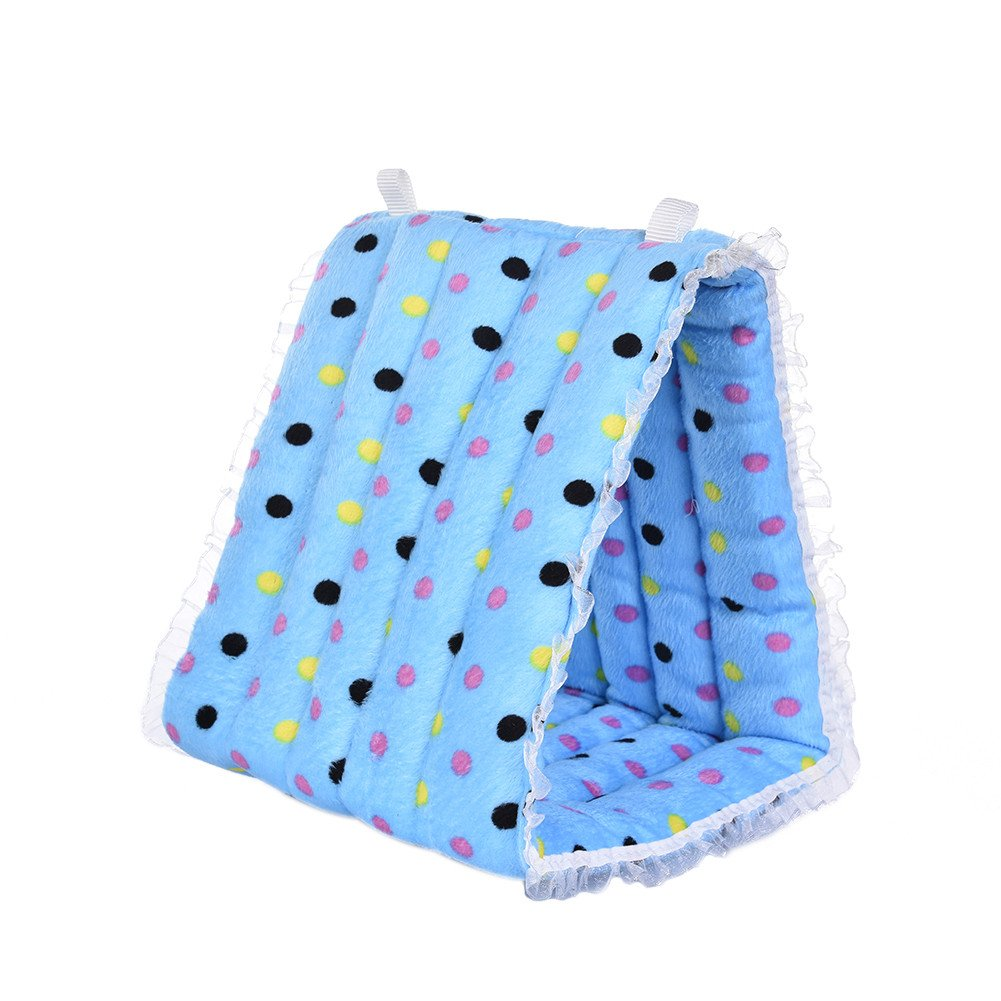 Yunt Pet Hammock Hanging Cave Cage Plush Snuggle Happy Hut Tent Bed Triangle Cotton Tent Nest House for Rabbit Hamster Birds Small Animals Blue