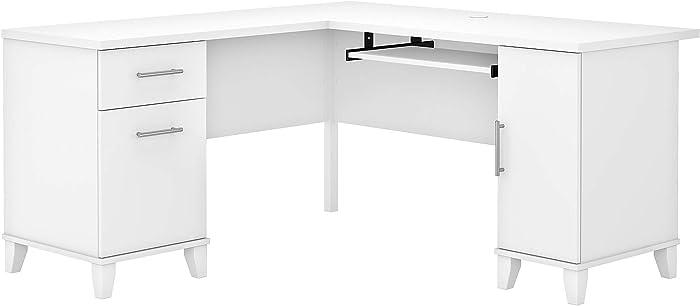 Bush Furniture Somerset L Shaped Desk with Storage, 60W, White