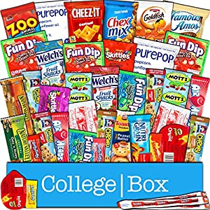 CollegeBox - Snacks Care Package (40 Count) for College Students – Variety Assortment Gift Box Bundle with Treats for Studying and Dorm Rooms – Chips, Cookies, Candy, Final Exams, Christmas, Holidays