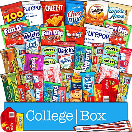 - CollegeBox - Snacks Care Package (40 Count) for College Students – Variety Assortment Gift Box Bundle with Treats for Studying and Dorm Rooms – Chips, Cookies, Candy, Final Exams, Easter Sunday