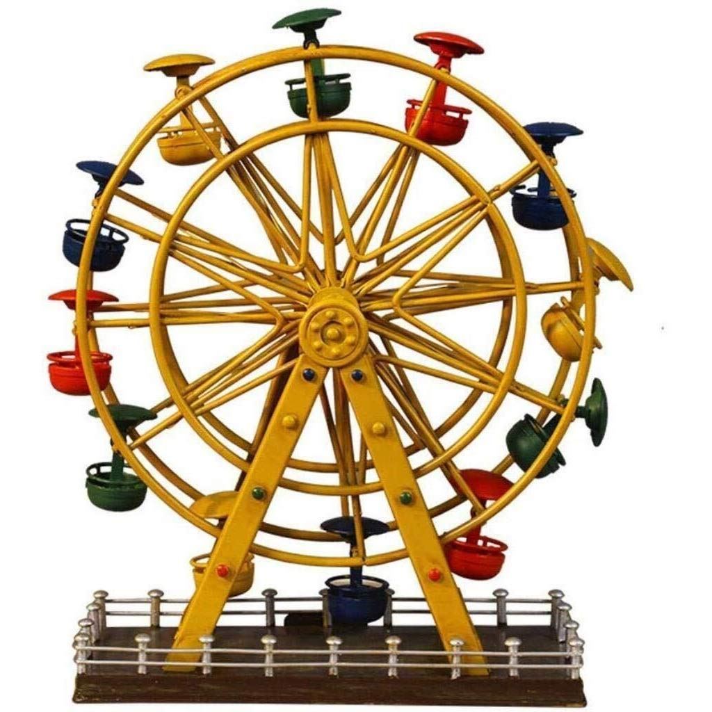 PLDDY Snow Globes Rugg Ferris Wheel Model Statue Ferris Wheel Crafts Creative Iron Metal Sculpture Figurines, for Gifts Home Decorations Ornaments (Color : Gold)